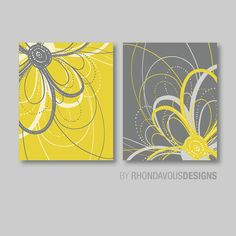 Flower Art Prints: This two-print set features two abstract images of a swirly flower on a solid background. The colors used are: mustard