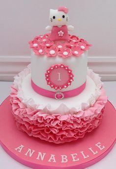 A Hello Kitty Pink Ombre Ruffles Cake by Fancy Fondant