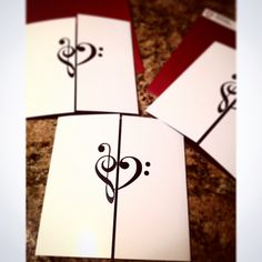Treble clef bass clef  Music themed invitation