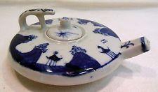 Antique Chinese Short Flat Blue & White Porcelain Teapot Censer 4 Character Mark