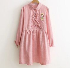 The little girl Embroidery Placket sash Turn-down collar long sleeve dress mori girl 2016 autumn dress