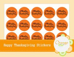 Happy Thanksgiving Stickers Thanksgiving by OrangeKiwiDesign Happy Thanksgiving, Stickers, Happy Thanksgiving Day, Sticker, Decal, Decals