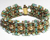 CREU SuperDuo  pearls and Swarovski beads Beadwork Bracelet tutorial instructions for personal use only