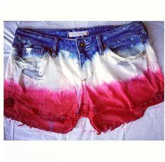 DIY bleach / dip dye Fourth of July Jean / denim American flag shorts