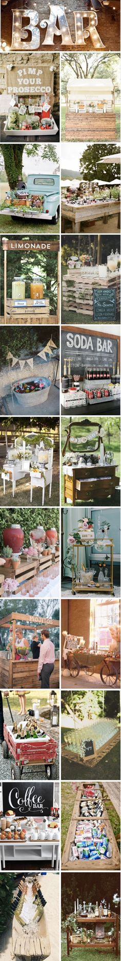 After the great fashion of the Candy Bar, the brides discovered the new trend to have fun . French Wedding, Diy Wedding, Rustic Wedding, Dream Wedding, Wedding Day, Wedding Reception Themes, Wedding Decorations, Drinks Wedding, Self Service