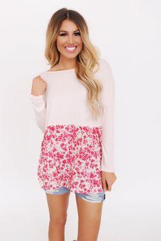 Blush/Floral Bottom Top - Dottie Couture Boutique