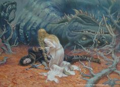 "At this unfortunate moment, ""Níniel"", who feared for her husband's life, went out and found him apparently dead. Glaurung then set off his hidden weapon against Túrin - he removed Nienor's amnesia with his last words. Realising she had married her own brother and was carrying his unborn child, she committed suicide by throwing herself into the ravine at Cabed-en-Aras.."