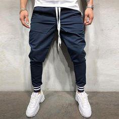 Charm Men's Stitching Casual Beam Feet Pants Fitness Sweatpants Sport New Y Fashion Pants, Mens Fashion, Casual Pants, Men Casual, Jogger Pants Style, Elastic Waist Pants, Couture, Black Pants, Hip Hop