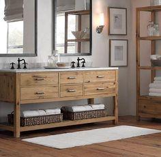 Coole Bad Eitelkeit in einer Mischung aus rustikal und modern, ein offenes Regal und Schubladen gemacht