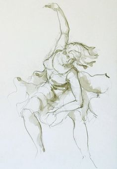Woman dancing - Original figurative modern art drawing- pencil on acid free paper Sennelier - Female dancing / movement / art / flowing on Etsy, $59.70