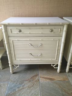 ON RESERVE For Nicole   Thomasville Allegro Faux Bamboo Chest Fretwork