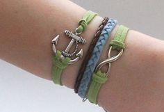 Antique Silver Bracelet, Anchor Bracelet, Infinity Bracelet