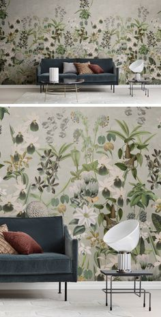 Room Wallpaper, Wallpaper Ideas, Color Scale, Beautiful Interiors, Main Colors, Dusk, Wall Murals, Living Room, Table