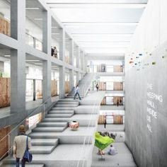 Ideas For Stairs Architecture Atrium Modern Architecture Design, University Architecture, Stairs Architecture, Cultural Architecture, Concept Architecture, School Architecture, Sustainable Architecture, Atrium Design, Escalier Design