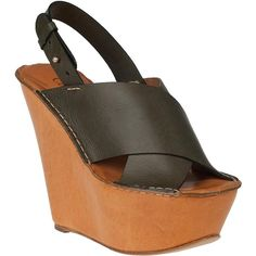 CHLOÉ Ch18341 Wedge Sandal Olive Leather ($448) ❤ liked on Polyvore
