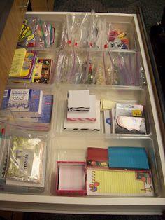 Office supplies / teacher supplies drawer #3.  From Mrs. Terhune's First Grade Site!: The Ultimate Classroom Tour
