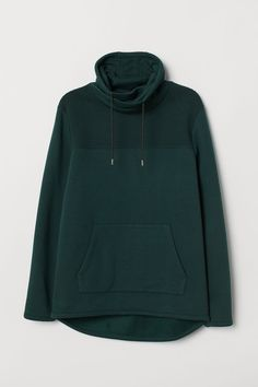 Shirt in thick jersey with wrapover chimney collar with drawstring. H M Men, Collared Sweatshirt, Jogging Bottoms, Drawing Clothes, Green Fashion, Fashion Company, Mens Sweatshirts, Sleeve Styles, Men Sweater