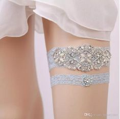 Blue Bridal Garters Crystals Pearls for Bride Lace Wedding Garters Belt, Free Size From 15 to 23 inches Wedding Leg Garters Real Picture