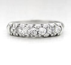 Vintage Art Deco Diamond Anniversary Platinum Ring by baffy21, $499.00