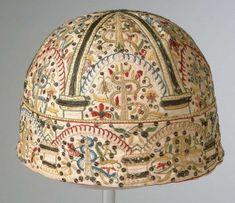 Tudor gentleman's night cap.  Chertsey Museum, Olive Matthews Collection Trust