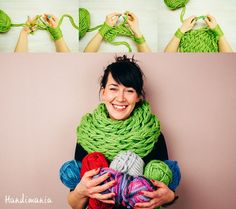 The Half-Hour Infinity Scarf 23 Insanely Clever Arm Knitting Projects and Techniques Finger Knitting, Arm Knitting, Knitting Patterns, Crochet Patterns, Knitting Needles, Knitting Stitches, Knitting Projects, Crochet Projects, Sewing Projects