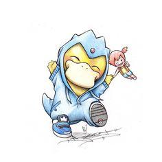Psyduck in a Golduck onsie by BirdychuArt.deviantart.com on @deviantART