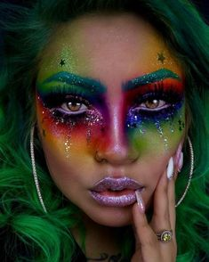 Cool 48 Pretty Rainbow Makeup Ideas. More at https://fashionssories.com/index.php/2018/11/05/48-pretty-rainbow-makeup-ideas/ Sfx Makeup, Cosplay Makeup, Kesha Makeup, Costume Makeup, Makeup Art, Makeup Inspo, Beauty Makeup, Photo Makeup, Body Makeup