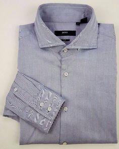 73a0e423e HUGO Boss SELECTION Gray HERRINGBONE Slim FIT Shirt 42 16 1/2 MENS Size SZ