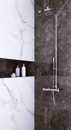 Bath Room Marble White Black 70 Ideas - pinupi love to share Marbel Bathroom, Black Marble Bathroom, Marble Room, Silver Bathroom, Small Bathroom, Bathroom Wall, Bad Inspiration, Bathroom Inspiration, Garden Inspiration