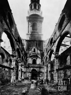 Fleet Street, London Photographic Print by H. Bedford Lemere at Art.com --- FLEET STREET, London. St Bride's Church was rebuilt to the designs of Sir Christopher Wren following the Great Fire of London. A fire bomb fell on the night of 29th December 1940 which pierced the roof and gutted the interior. This shows the remains of the church in March 1941. Rebuilding began in 1953 using Wren's surviving walls, it was rededicated in 1957 and it is still in use.