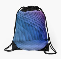 Geometric Path Blue-Pink Drawstring Bags by Terrella.  An abstract image resembling a tiled or paved pathway with sweeping walls on each side.  The colors change from blue to pink with light and dark areas. • Also buy this artwork on bags, apparel, phone cases, and more.