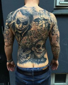 101 Joker tattoo designs for men - (incl, legs, backs, sleeves, etc) Joker Tattoos, Clown Tattoo, Chicano Tattoos, Badass Tattoos, Body Art Tattoos, Tribal Tattoos, Sleeve Tattoos, Tatoos, Back Tattoos For Guys