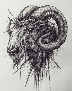Creepy Drawings, Dark Art Drawings, Creepy Art, Art Drawings Sketches, Tattoo Drawings, Body Art Tattoos, Occult Tattoo, Occult Art, Arte Horror