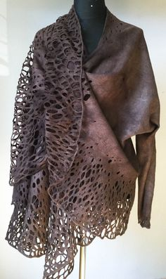 Felted jacket Alar lace brown handmade original by DosethHandmade