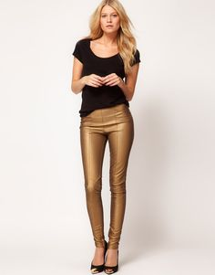 ASOS Skinny Pants in PU with Panel Detail (via http://www.chicityfashion.com/leather-pants/)