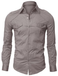 Doublju US Mens Casual Shoulder Strap Slim Dress Shirts Gray