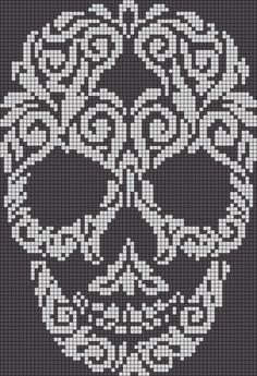 Alpha friendship bracelet pattern added by skull swirl filligree abstract. skull cross stitch or crochet chart türk - The Crocheting Place Picture outcome for cranium crochet diagram a knit and crochet community Zuckerschädel x-Stich , Filet Crochet Charts, Crochet Diagram, Knitting Charts, Cross Stitch Charts, Cross Stitch Patterns, Filet Pattern Crochet, C2c Crochet Blanket, Tapestry Crochet Patterns, Cat Cross Stitches