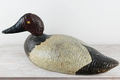 Vintage Handcarved Wood Duck Decoy by AbbijoCollections on Etsy, $45.00