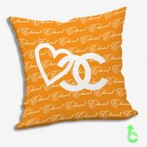Chanel White Heart Logo Writing Pattern Orange Surface Pillow Cases