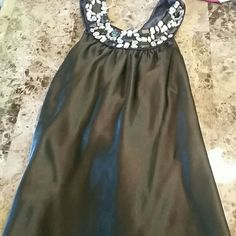 NWOT BLING STONE BLACK SATIN DRESS TANK Black satin Heart and soul bling stone black dressy tank top HeartSoul Tops Tank Tops