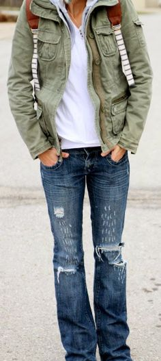 olive jacket, distressed denim