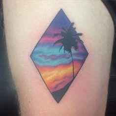 Tatuaje paisaje del atardecer en la playa                                                                                                                                                                                 Más