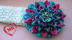 Love the colors on this flower headband tutorial |Многослойный цветок канзаши своими руками. Видео уроки канзаши.
