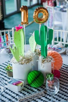 Super ideas for baby shower ideas decoracion cactus Fiesta Party Decorations, Fiesta Theme Party, Festa Party, Party Centerpieces, Mexican Decorations, Table Decorations, Mexican Birthday, Mexican Party, 10th Birthday Parties