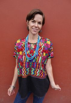 Vintage Handwoven Floral Ethnic Mayan Guatemalan Textile Huipil Poncho from Totonicipan