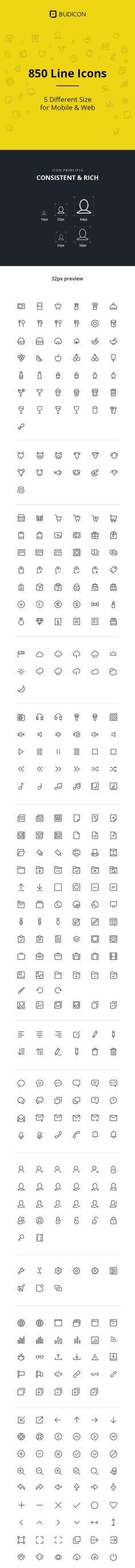 Budicon - 850 Scalable Vector Line Icons by Budi Harto Tanrim, via Behance #Minimalist #Illustration #icon