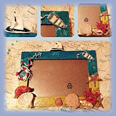 Wood frame with polymer clay. Sea theme