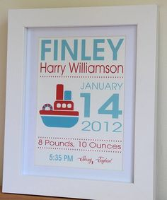 New Baby Boy Gift - Boat Print