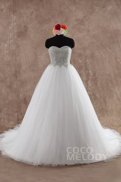Classic Ball Gown Sweetheart Natural Sweep-Brush Train Tulle White Sleeveless Lace Up-Corset Wedding Dress with Crystals LD2346