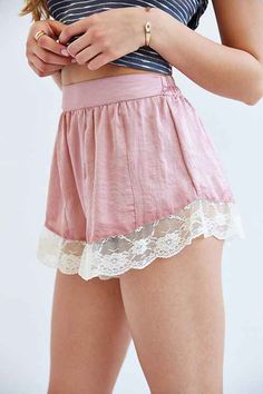 Band Of Gypsies Lace-Trim Slip Short - Urban Outfitters
